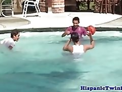 Latin twink at pool in threeway blows his load