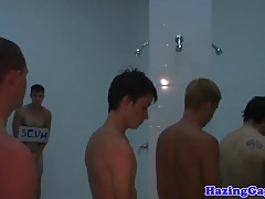 Twink straighty assfucked in shower at hazing