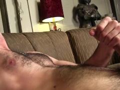 Hairy freak Dempsey strokes his boner and licks his armpits