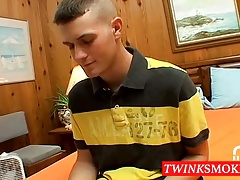 Horny gay dude Bryce is smoking and wanking at the same time