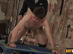 Ashton whips and slaps Jack before hammering his tight ass