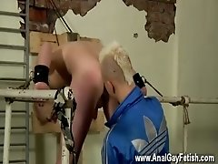 Hot gay scene Chained to the railing, young and slick Alex can do