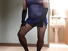 CD small cock blue netted dress red bra pantyhose pink panty
