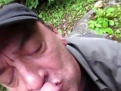 Dad/Sons Cum, Outdoors cumshot, cum in mouth