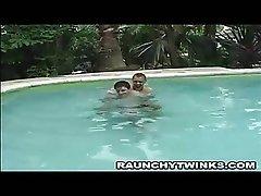 Wild Blonde Hunk Pool Blowjob